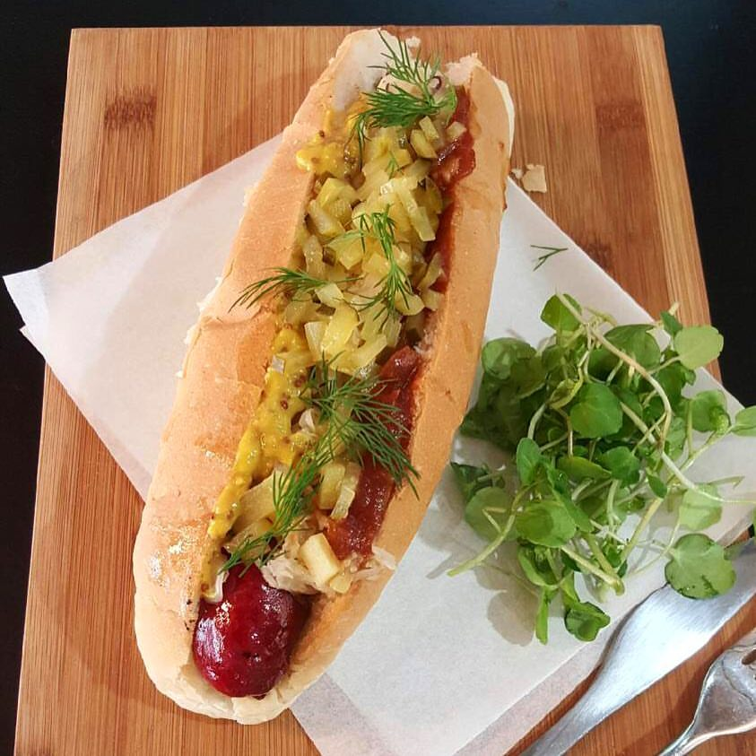 Gourmet Hot Dog with Sweet Mustard with Apricots & Macadamia Nuts