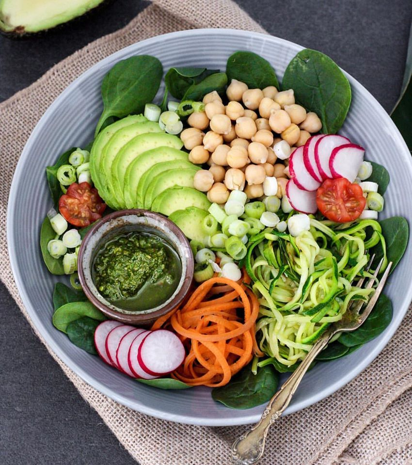 Pesto Chickpea Buddha Bowl with Dairy Free Pesto