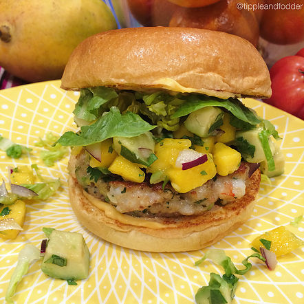 Prawn Burger with Habanero Chilli Mayonnaise and Mango Salsa