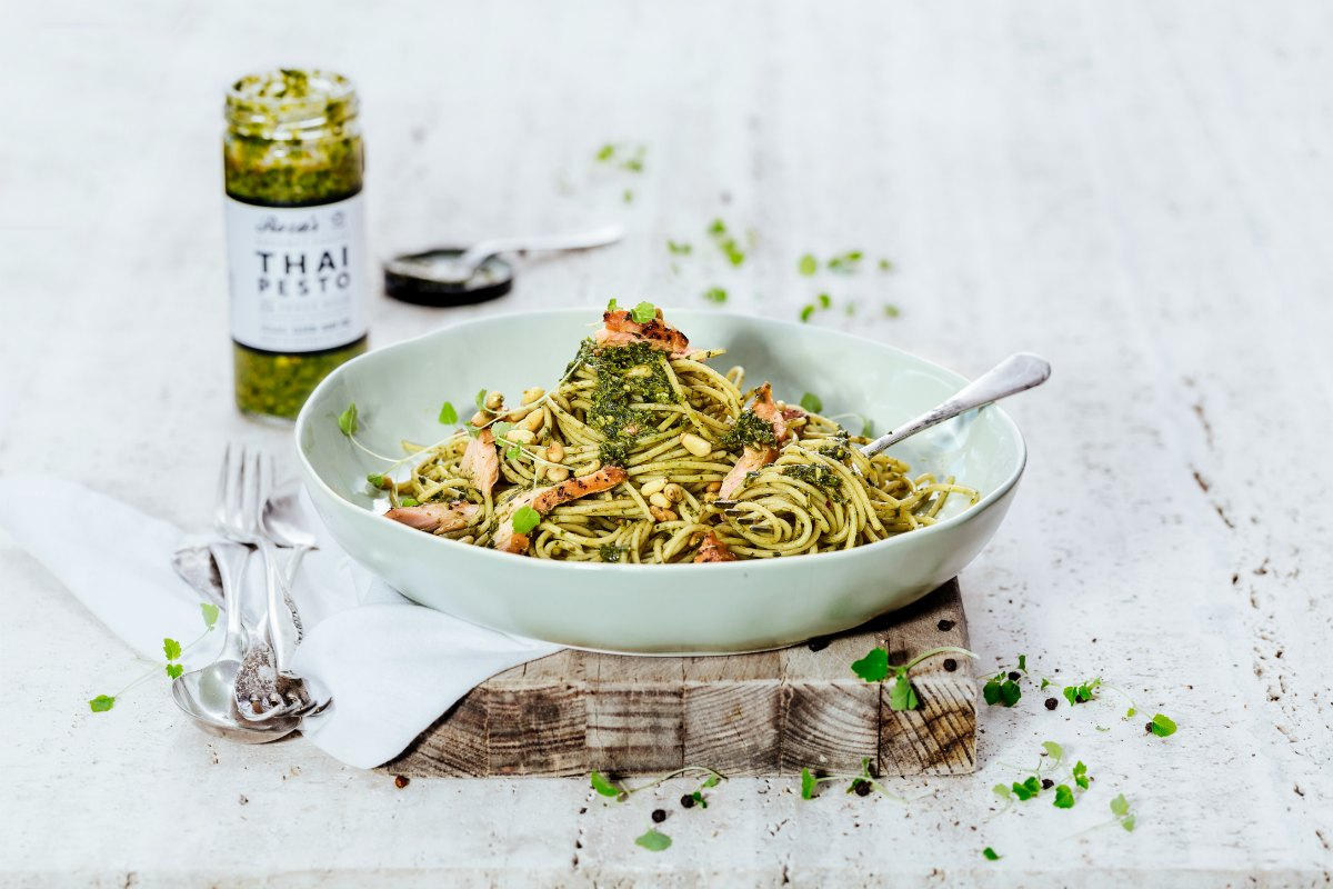 Smoked Salmon Pasta Thai Pesto