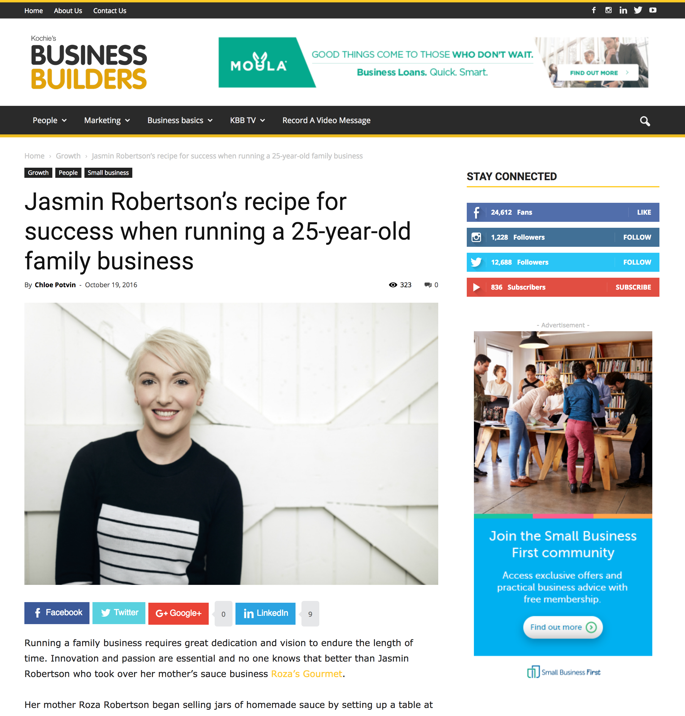 Jasmin Robertson's recipe for success when running a 25-year-old family business