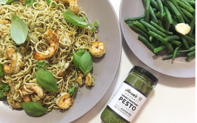 Delicious Pesto Prawn Pasta