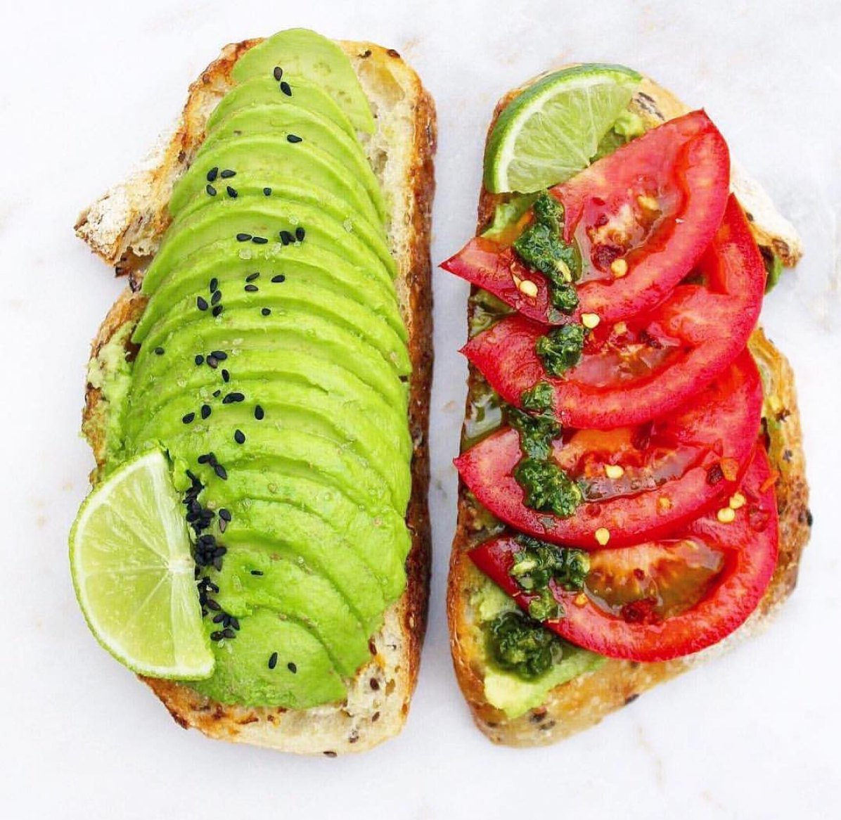 avocado tomato pesto toast