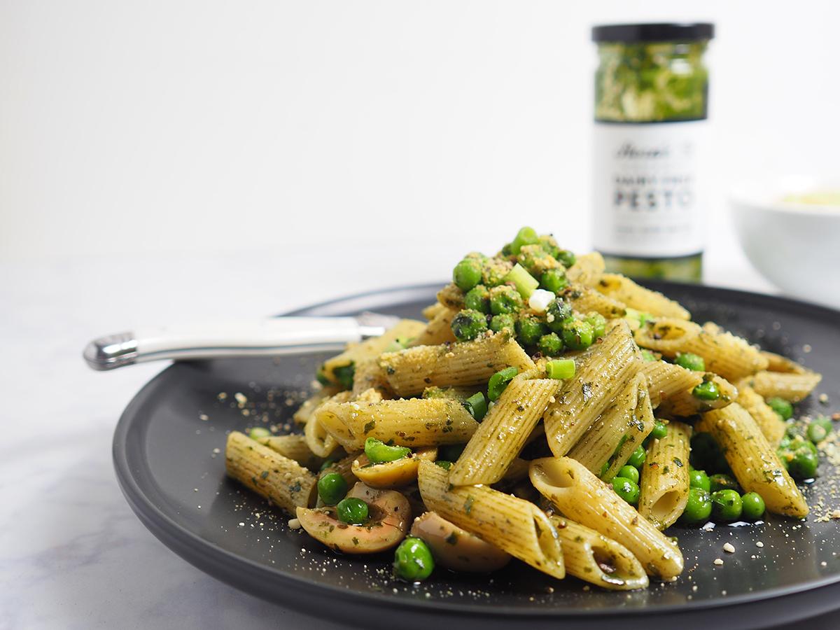 Dairy Free Pesto Pea Pasta