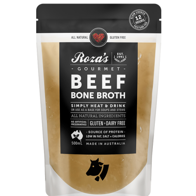roza's gourmet beef bone broth natural gluten free australian made