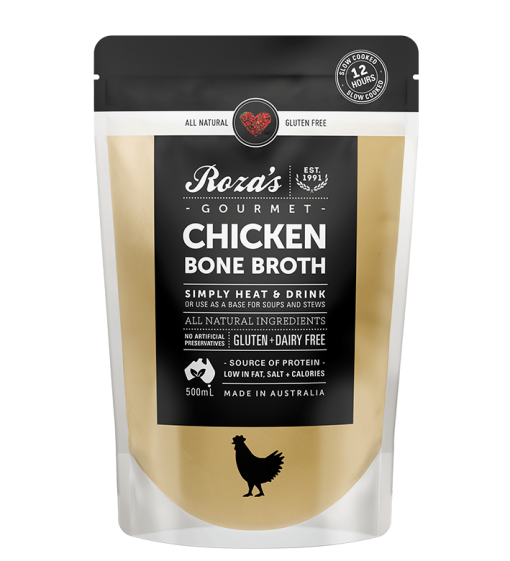 roza's gourmet chicken bone broth natural gluten free australian made