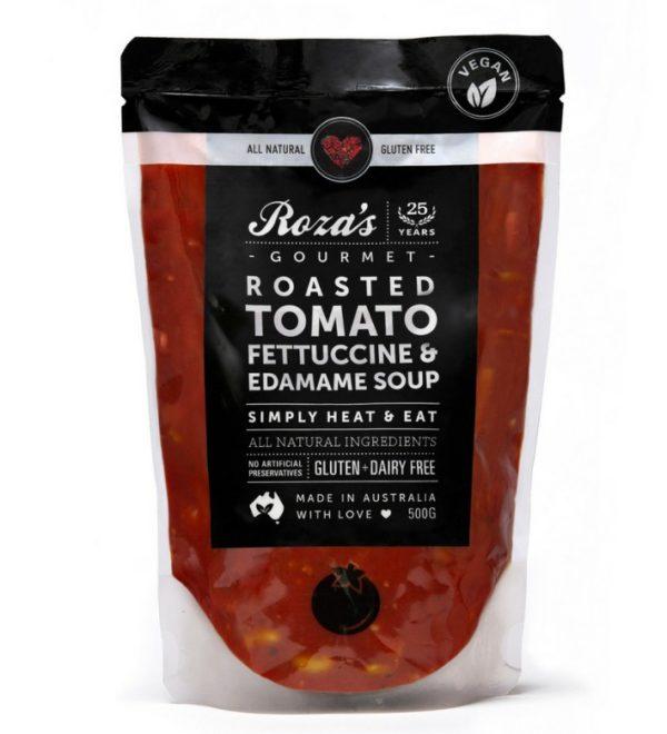 Roza's Gourmet Roasted Tomato Fettuccine Edamame Soup