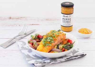 Mango Chilli & Coconut Chutney Glazed Salmon