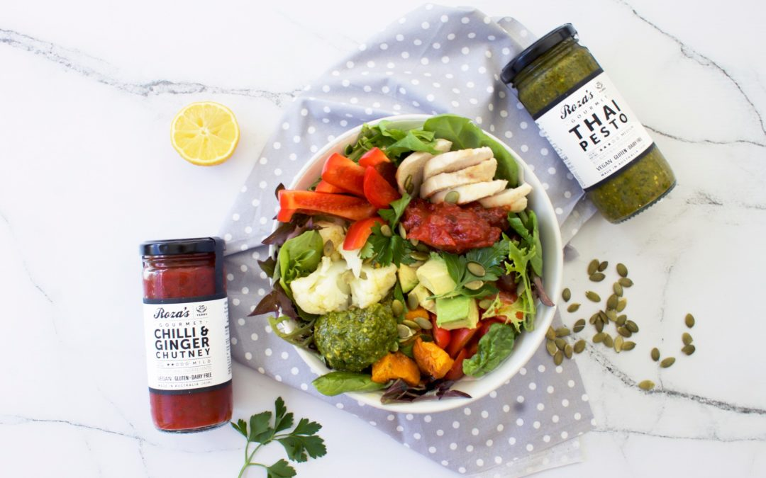 Nourish Bowl with Thai Pesto and Chilli & Ginger Chutney