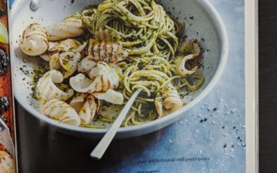 Char-Grilled Squid and Pesto Pasta