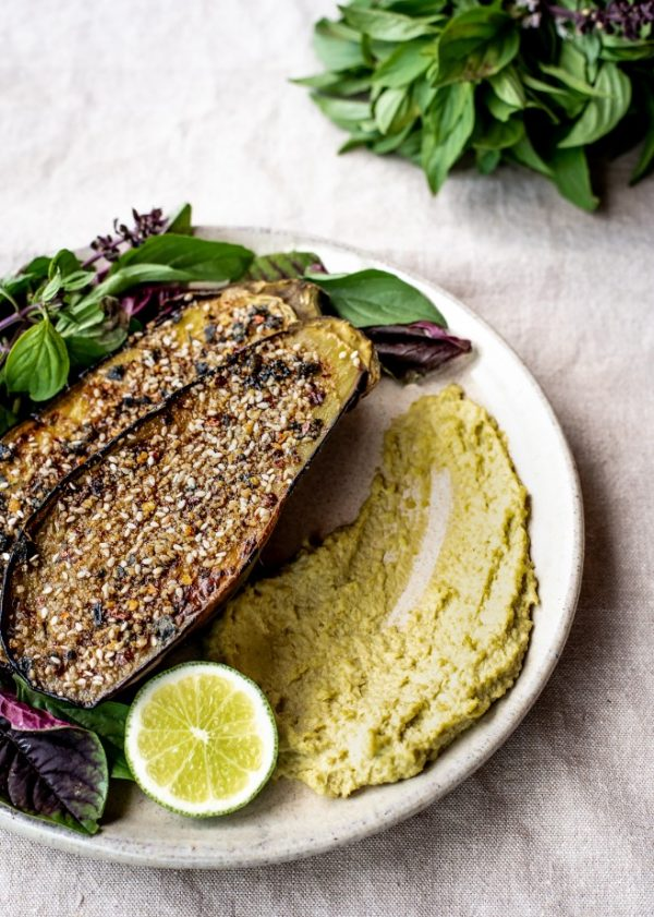 Dukkah Crusted Eggplant with Roza's Gourmet Miso & Edamame Dip gluten free recipes vegan healthy food 3