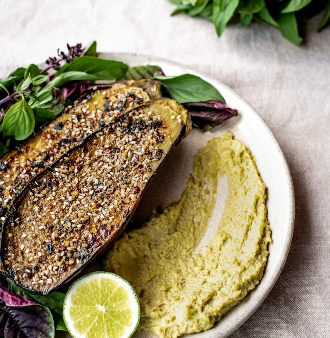 Dukkah Crusted Eggplant with Miso & Edamame Dip