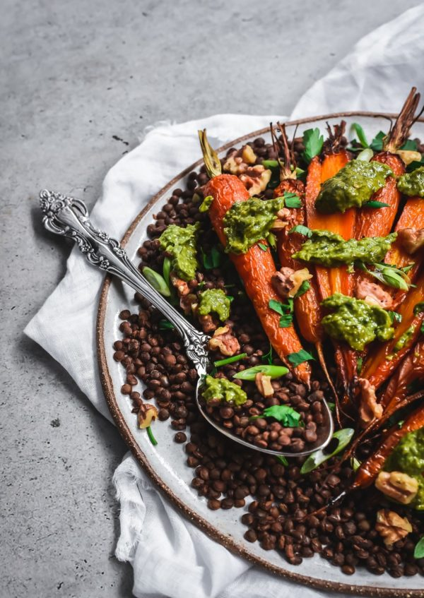 Honey Roasted Carrot and Lentil Salad Roza's Gourmet Honey Mustard Pesto gluten free recipes vegan 2