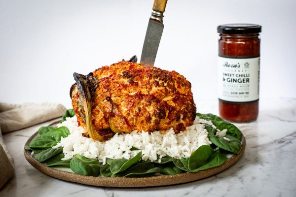 Sweet chilli & ginger cauliflower recipe roza's gourmet gluten free sauce australian made 2