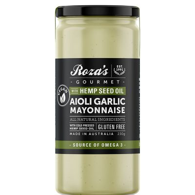 Roza's Gourmet Aioli Garlic Mayonnaise with Hemp Seed Oil