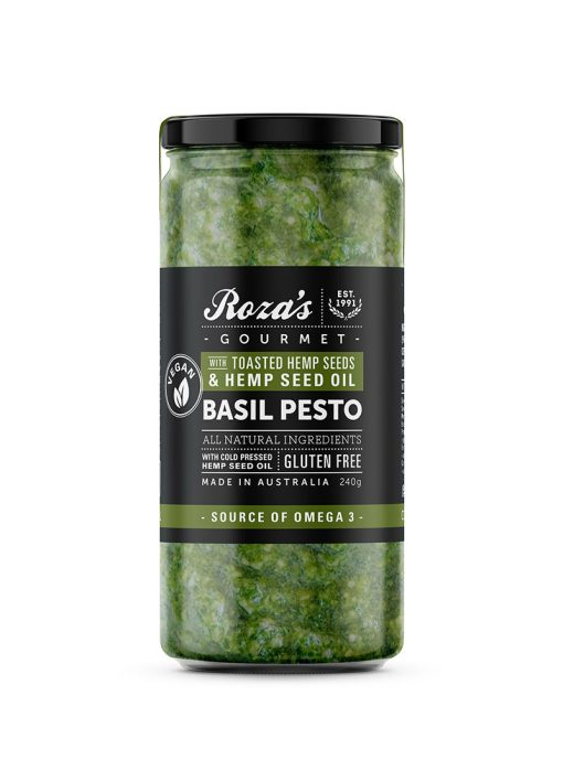 Roza's Gourmet Basil Pesto with Hemp Seed Oil and Toasted Hemp Seeds