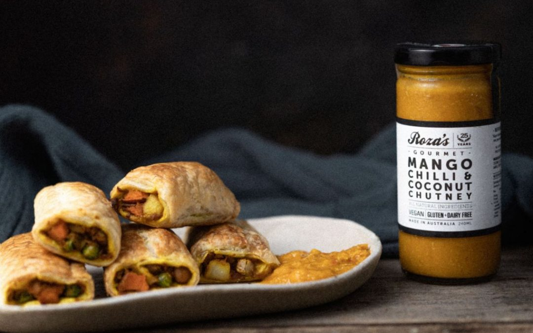 Curried Vegetable Rolls with Mango Chutney