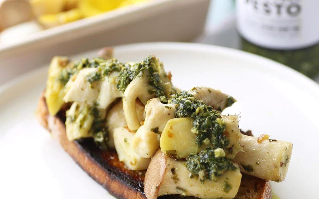 Mushrooms With Pesto On Toast