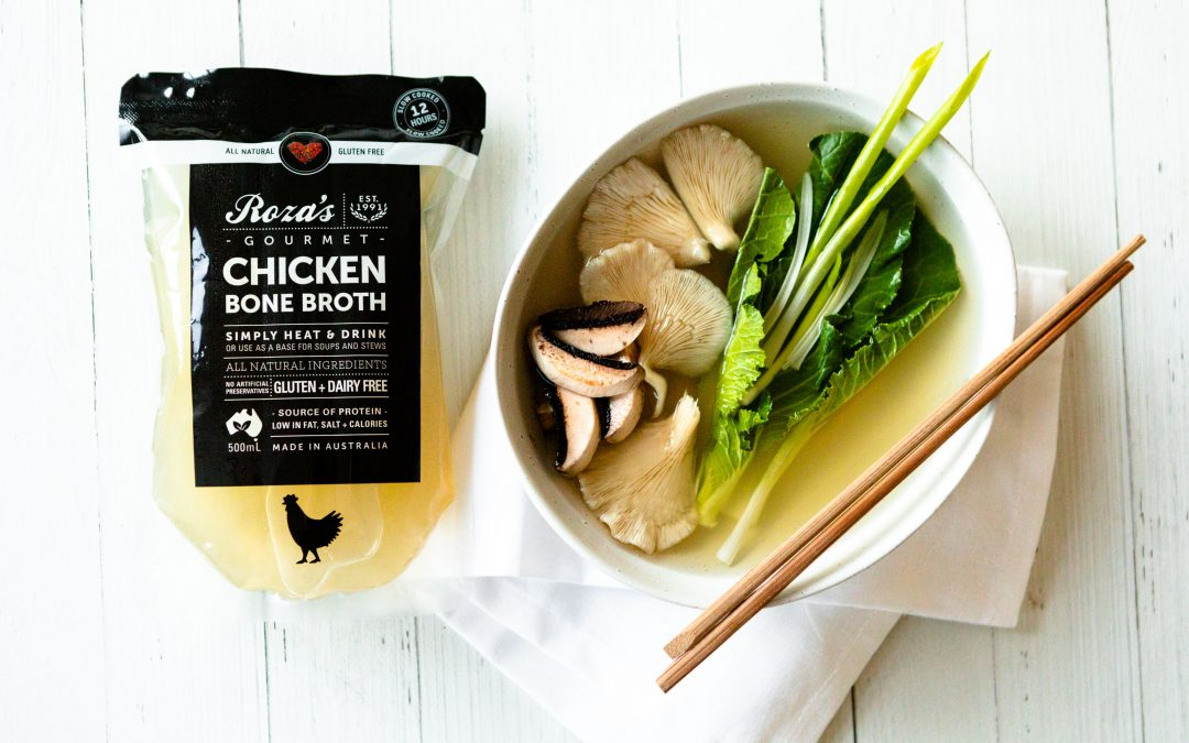 Ginger-Infused Chicken Bone Broth with Vegetables