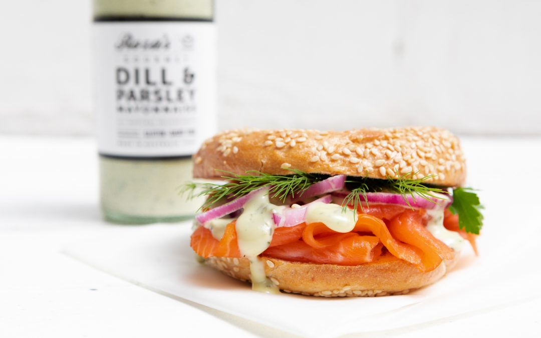 Smoked Trout Bagel with Dill & Parsley Mayonnaise