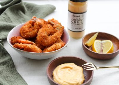 Coconut Prawns with Coconut Chilli Mayonnaise