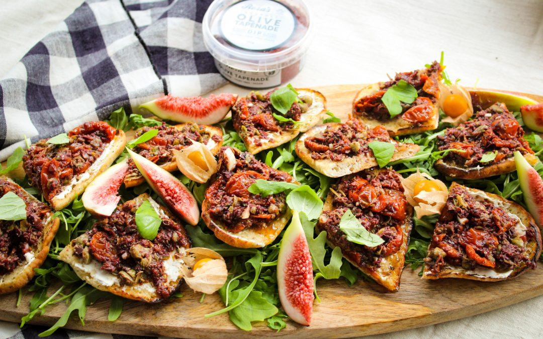 Super easy Olive Tapenade Bruschetta
